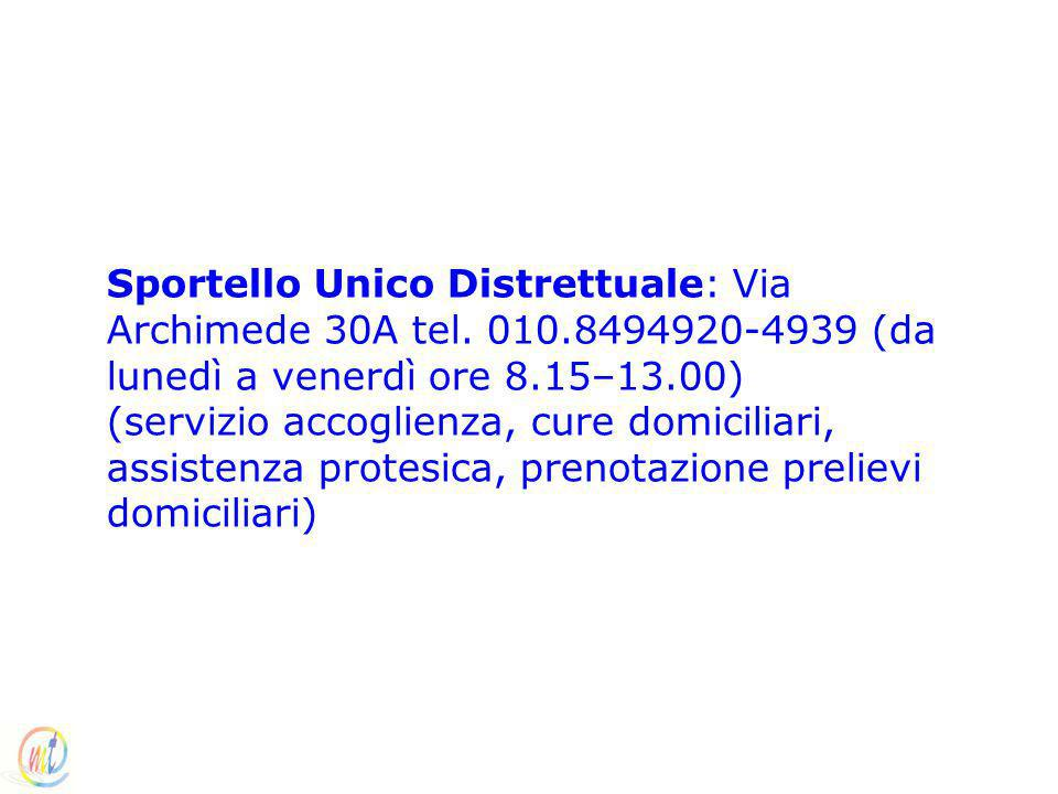 Sportello Unico Distrettuale: Via Archimede 30A tel. 010