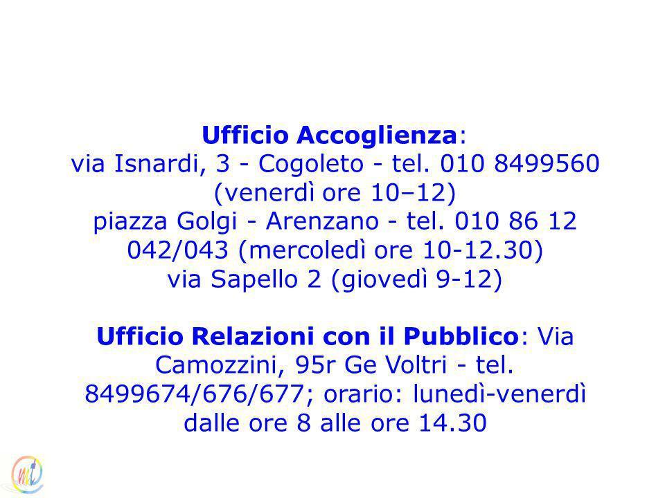 Ufficio Accoglienza: via Isnardi, 3 - Cogoleto - tel