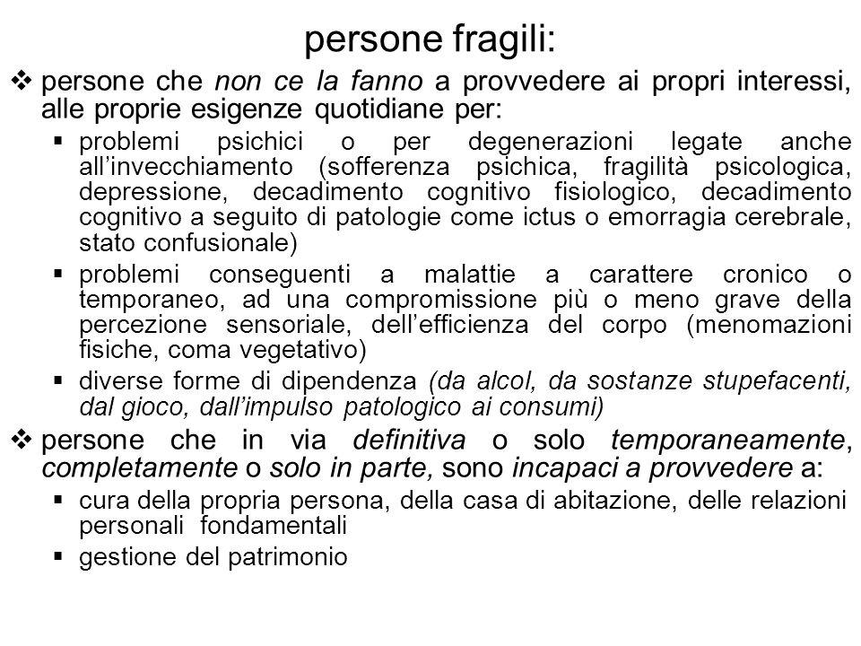 persone fragili:persone che non ce la fanno a provvedere ai propri interessi, alle proprie esigenze quotidiane per: