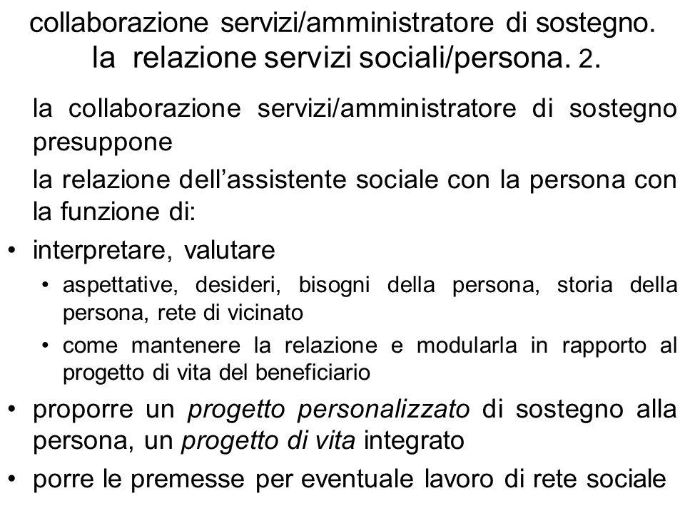 la collaborazione servizi/amministratore di sostegno presuppone