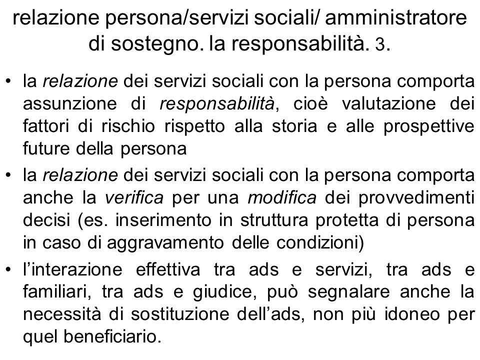 relazione persona/servizi sociali/ amministratore di sostegno