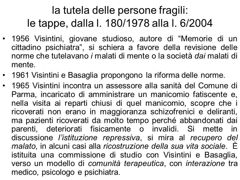 la tutela delle persone fragili: le tappe, dalla l. 180/1978 alla l