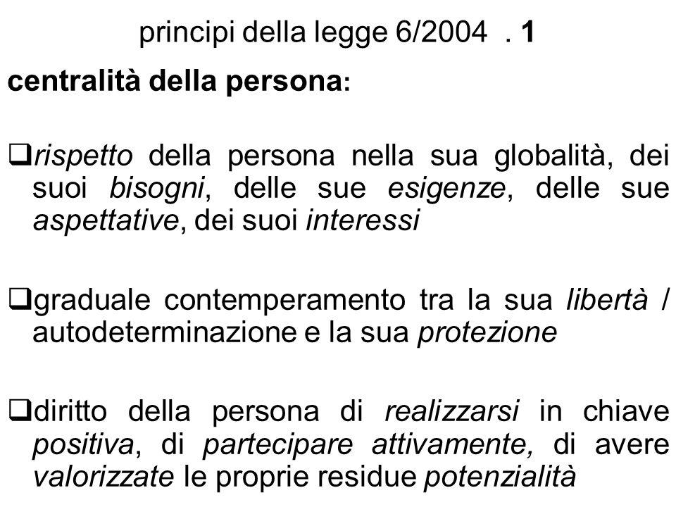 principi della legge 6/2004 . 1 centralità della persona: