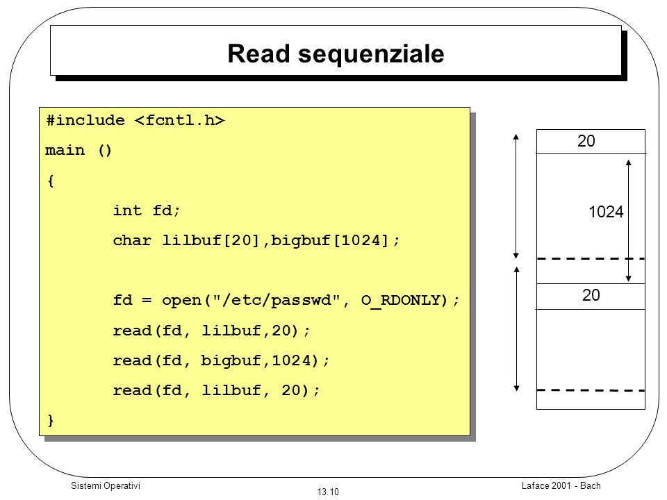 Read sequenziale #include <fcntl.h> main () 20 { int fd;