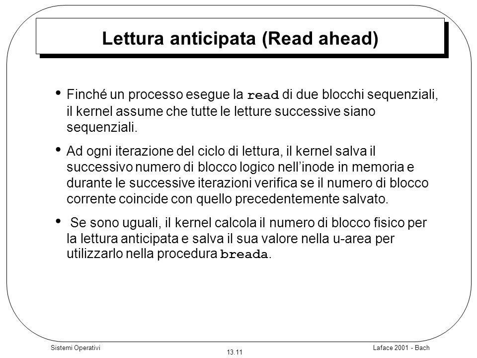 Lettura anticipata (Read ahead)