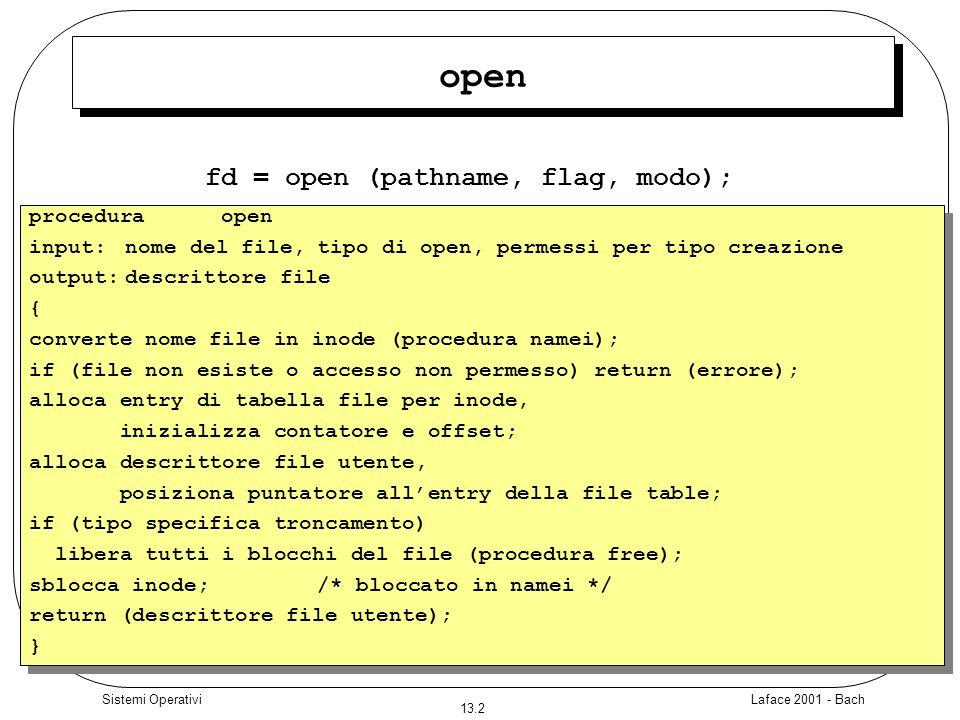 fd = open (pathname, flag, modo);