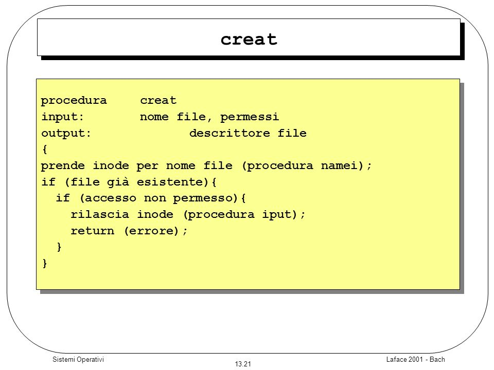 creat procedura creat input: nome file, permessi