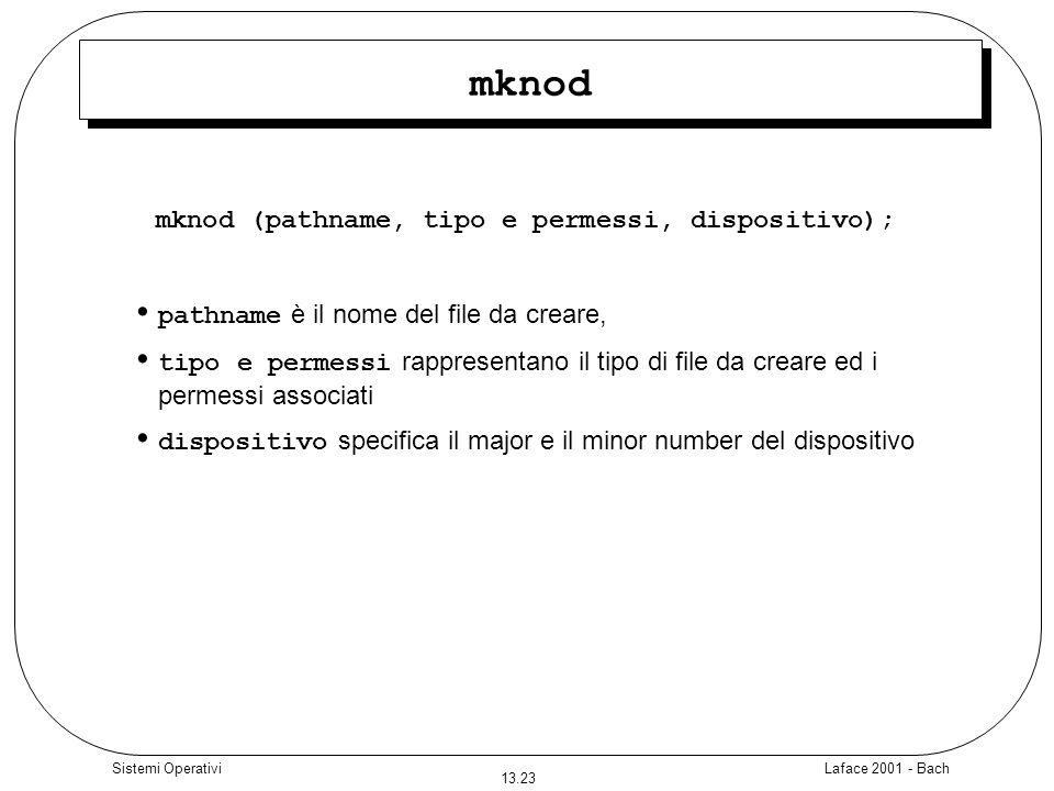 mknod (pathname, tipo e permessi, dispositivo);