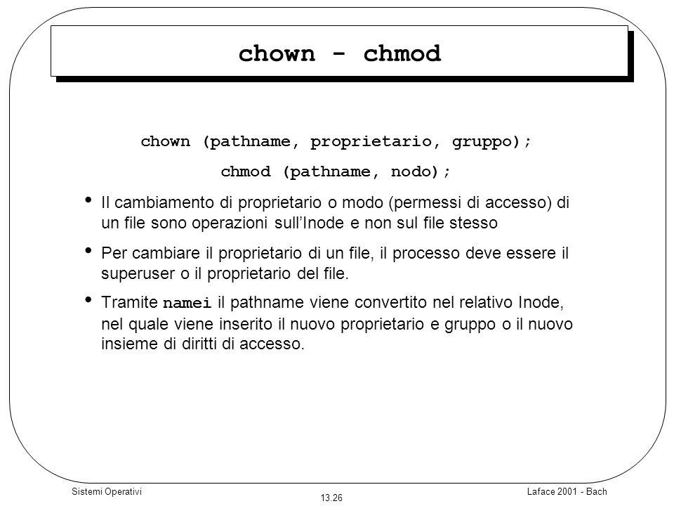 chown (pathname, proprietario, gruppo); chmod (pathname, nodo);