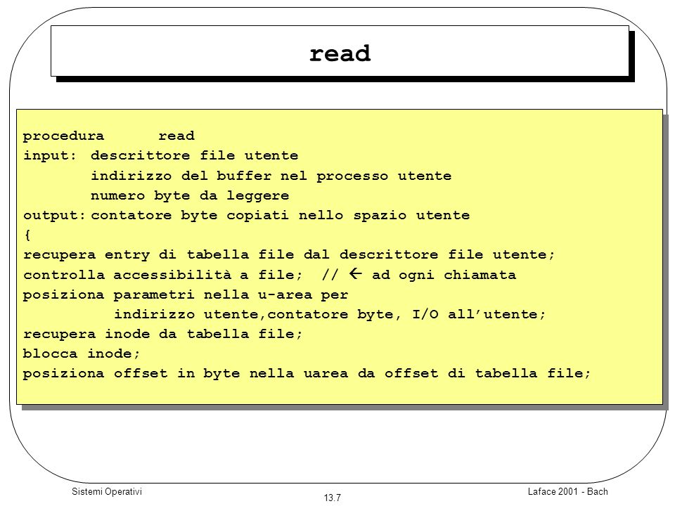 read procedura read input: descrittore file utente