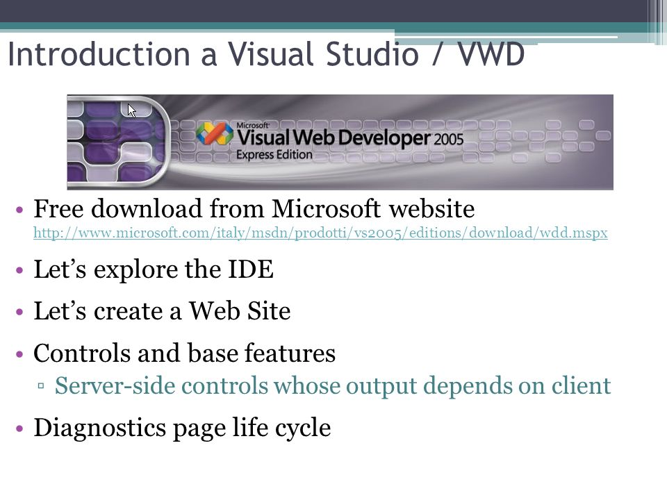 Introduction a Visual Studio / VWD