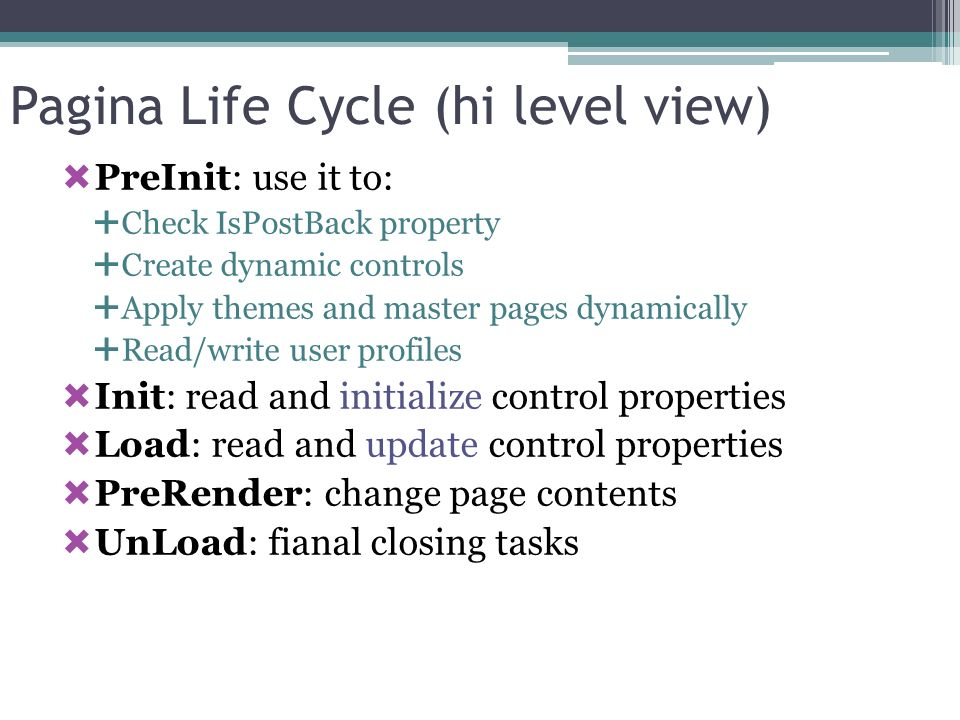 Pagina Life Cycle (hi level view)