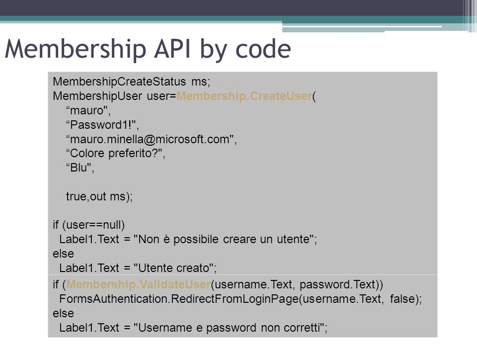 Membership API by code