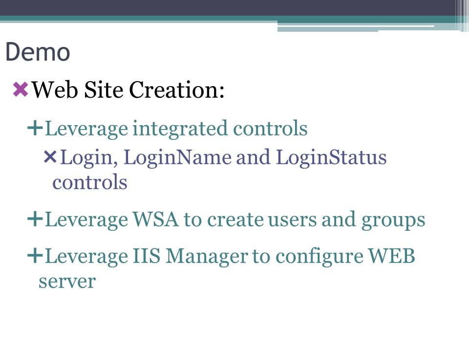 Demo Web Site Creation: Leverage integrated controls