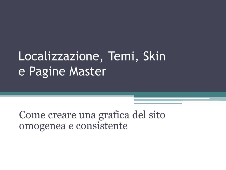 Localizzazione, Temi, Skin e Pagine Master