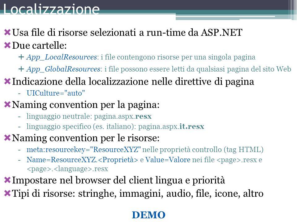 Localizzazione Usa file di risorse selezionati a run-time da ASP.NET