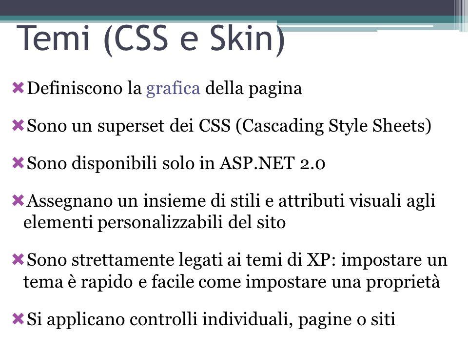 Temi (CSS e Skin) Definiscono la grafica della pagina