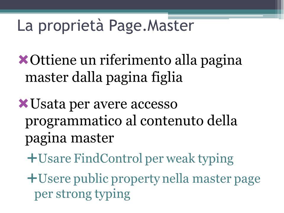 La proprietà Page.Master