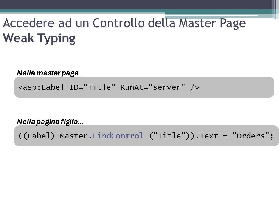 Accedere ad un Controllo della Master Page Weak Typing