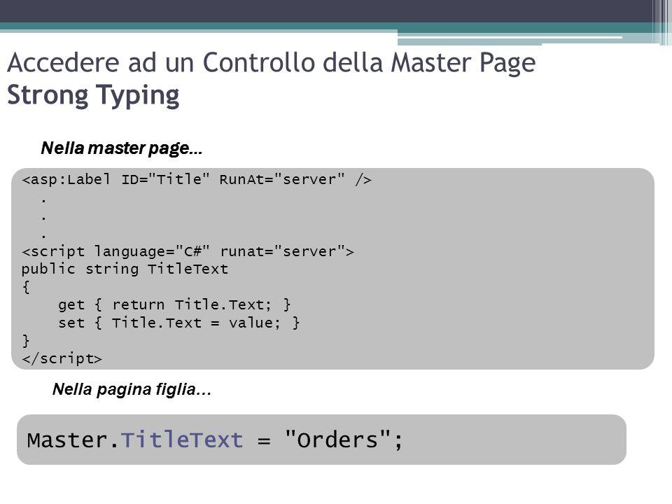 Accedere ad un Controllo della Master Page Strong Typing