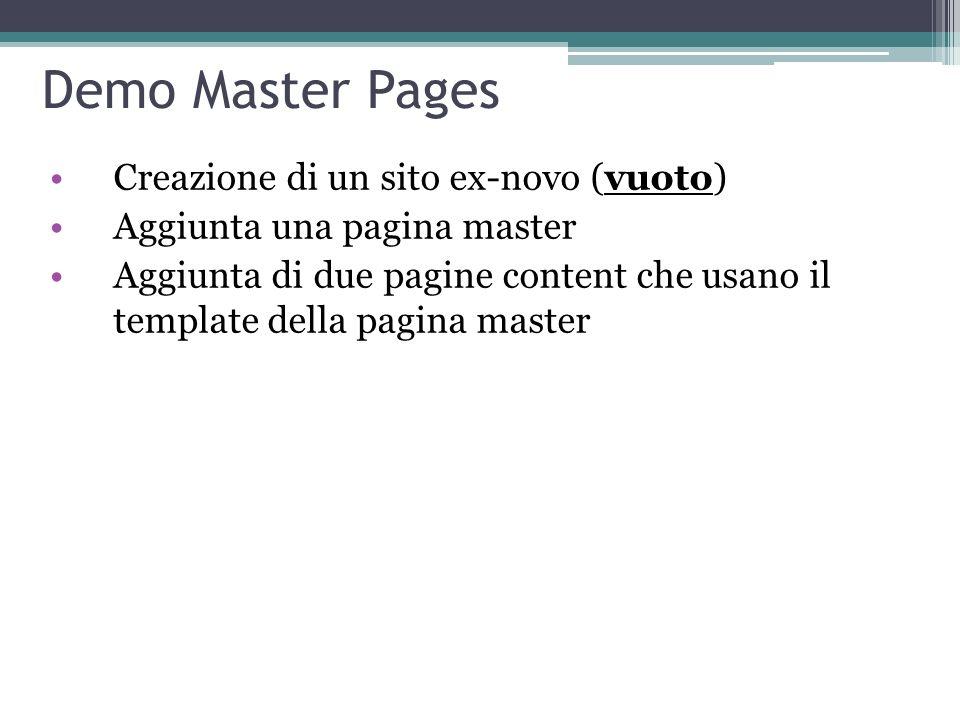 Demo Master Pages Creazione di un sito ex-novo (vuoto)