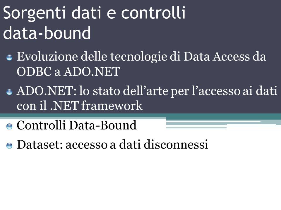 Sorgenti dati e controlli data-bound