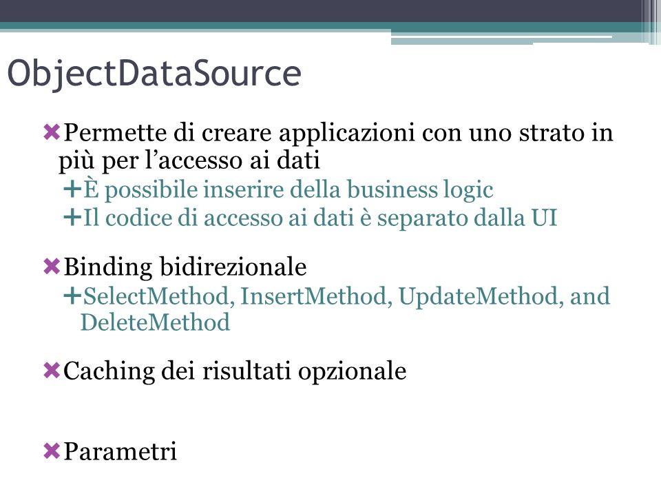 ObjectDataSource Permette di creare applicazioni con uno strato in più per l'accesso ai dati. È possibile inserire della business logic.