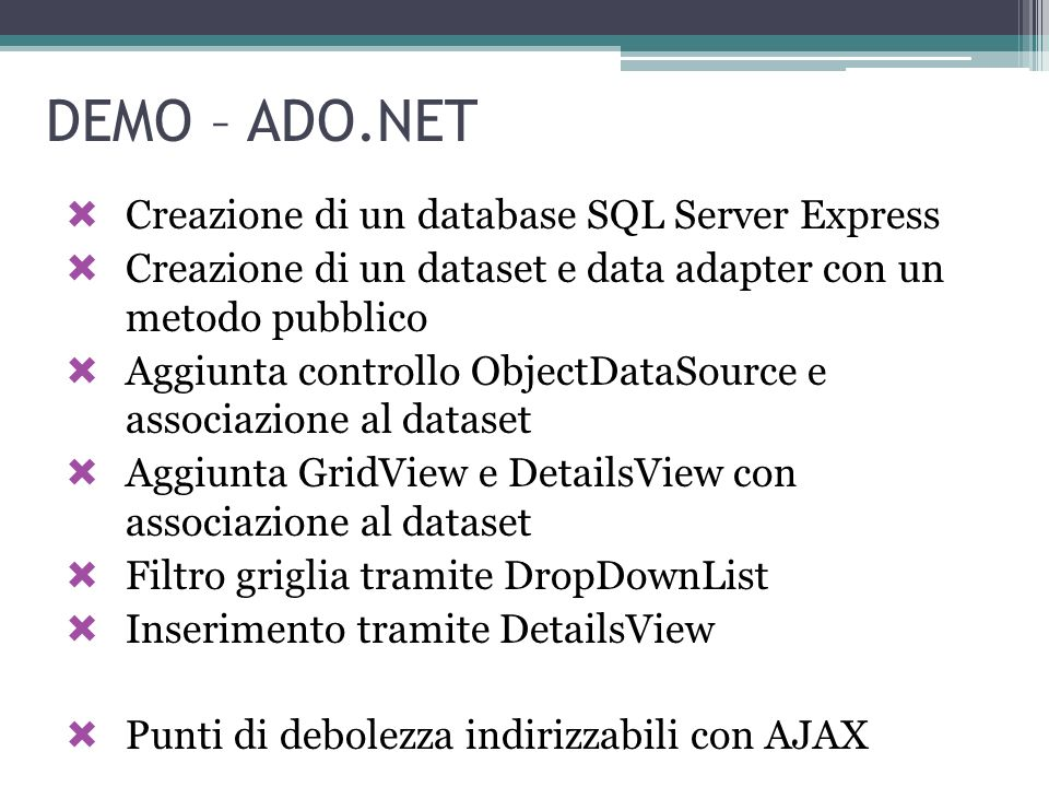 DEMO – ADO.NET Creazione di un database SQL Server Express