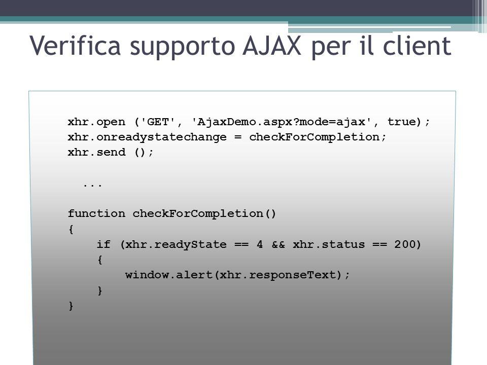 Verifica supporto AJAX per il client