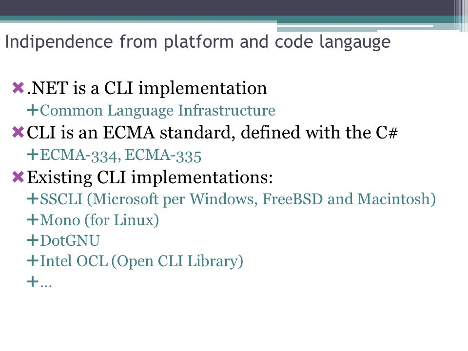 Indipendence from platform and code langauge