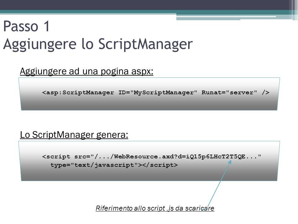Passo 1 Aggiungere lo ScriptManager