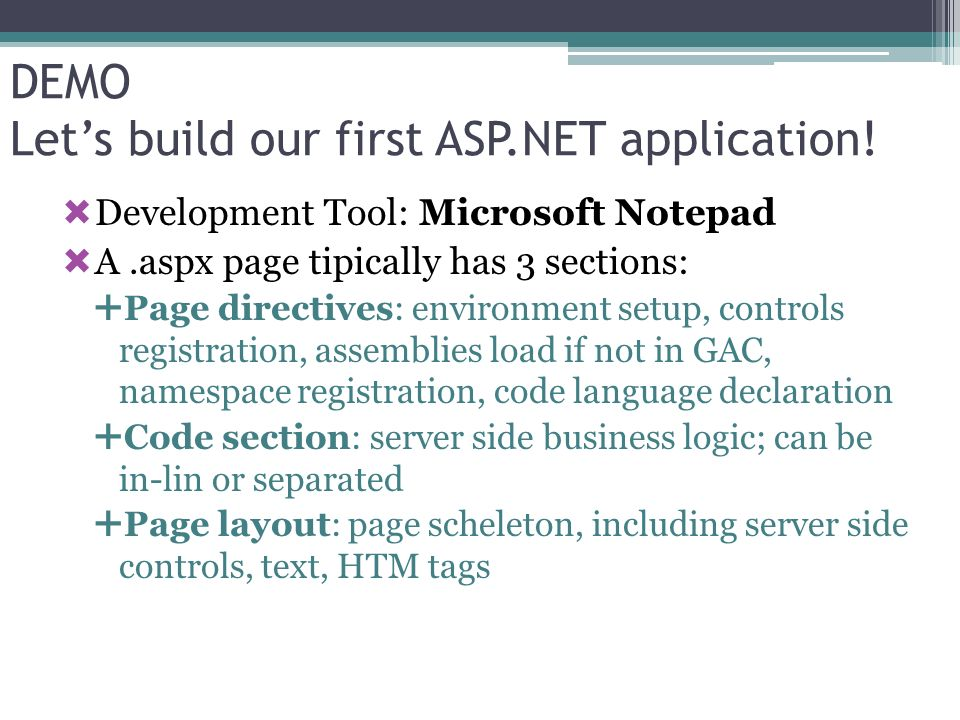 DEMO Let's build our first ASP.NET application!