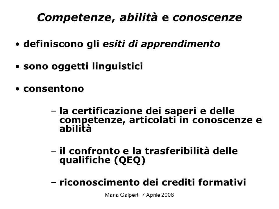 Competenze, abilità e conoscenze