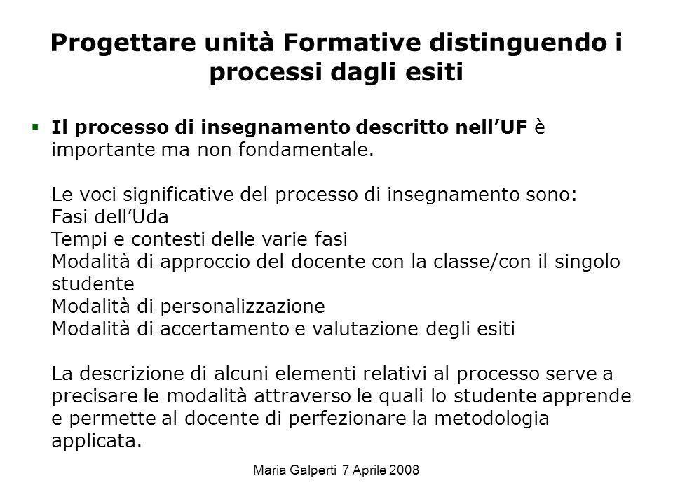 Progettare unità Formative distinguendo i processi dagli esiti