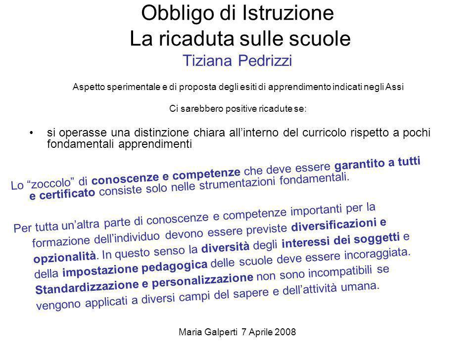 Obbligo di Istruzione La ricaduta sulle scuole Tiziana Pedrizzi