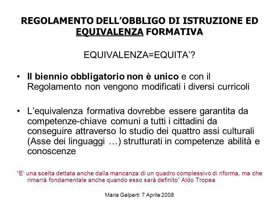 REGOLAMENTO DELL'OBBLIGO DI ISTRUZIONE ED EQUIVALENZA FORMATIVA