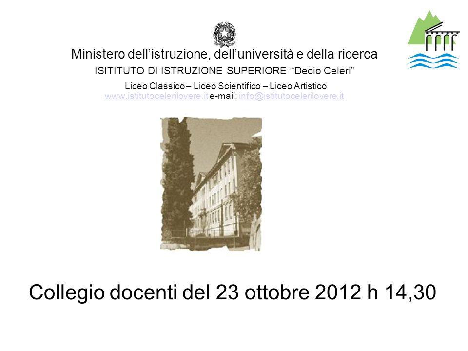 Collegio docenti del 23 ottobre 2012 h 14,30
