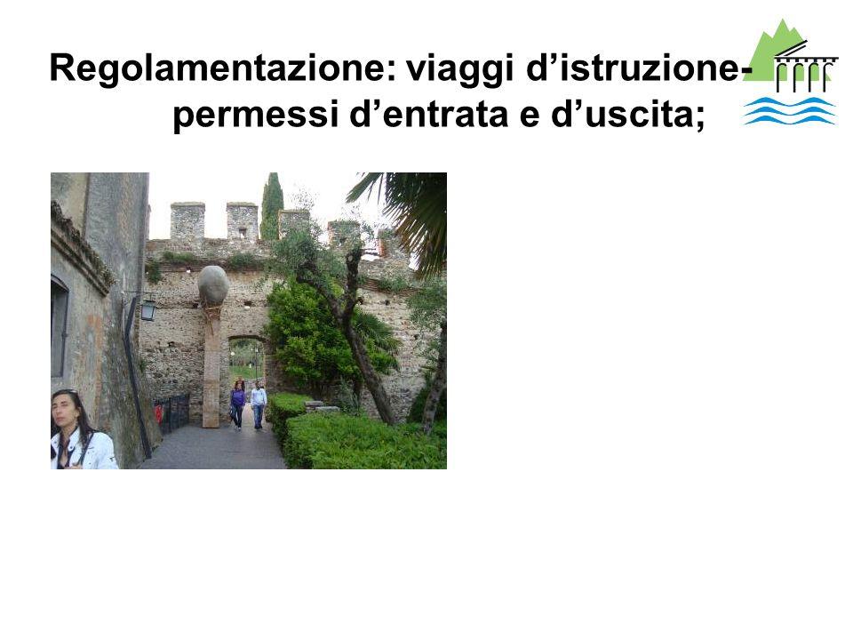 Regolamentazione: viaggi d'istruzione- permessi d'entrata e d'uscita;