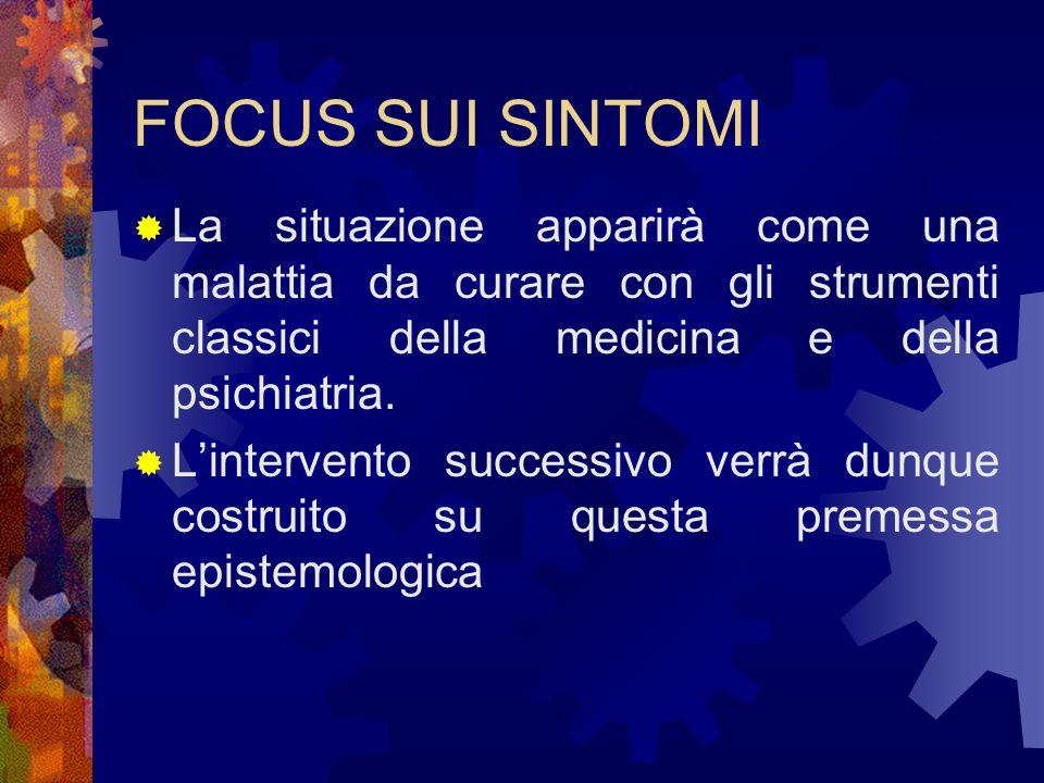 FOCUS SUI SINTOMI La situazione apparirà come una malattia da curare con gli strumenti classici della medicina e della psichiatria.