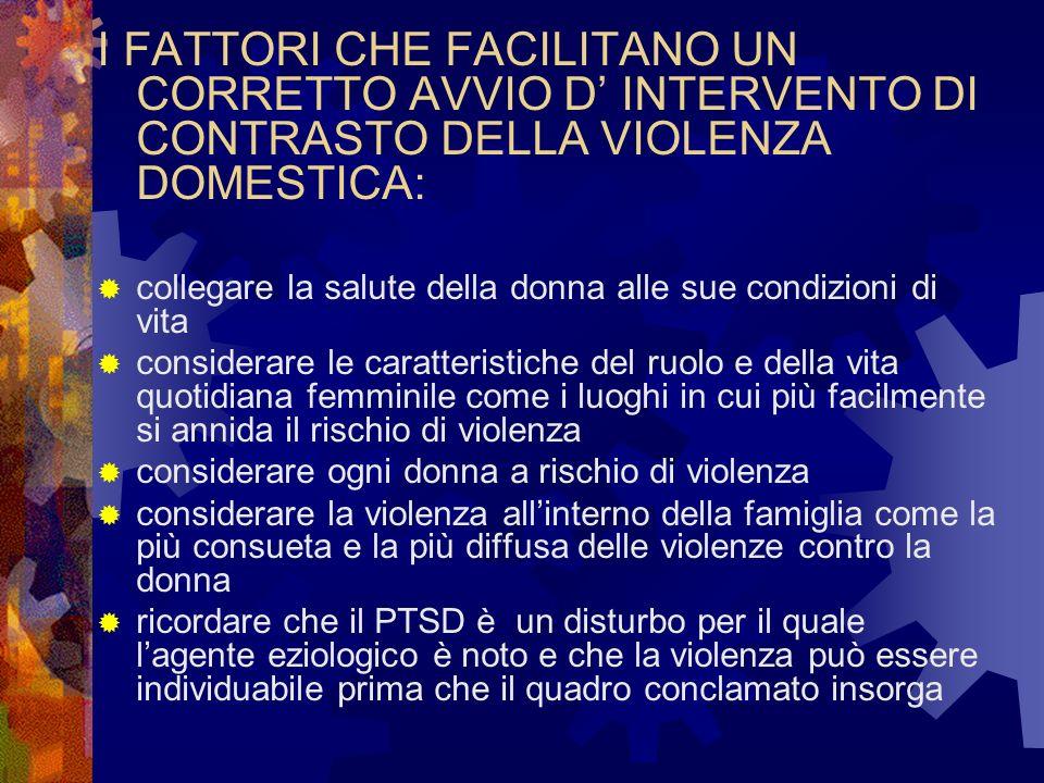 I FATTORI CHE FACILITANO UN CORRETTO AVVIO D' INTERVENTO DI CONTRASTO DELLA VIOLENZA DOMESTICA: