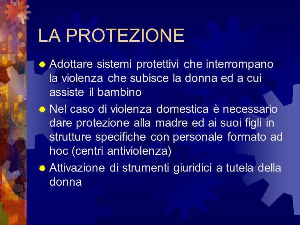 LA PROTEZIONE Adottare sistemi protettivi che interrompano la violenza che subisce la donna ed a cui assiste il bambino.