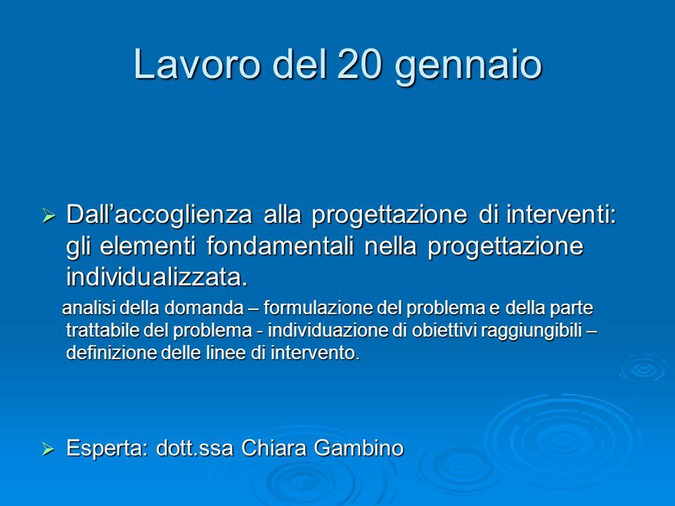 Lavoro del 20 gennaio Dall'accoglienza alla progettazione di interventi: gli elementi fondamentali nella progettazione individualizzata.