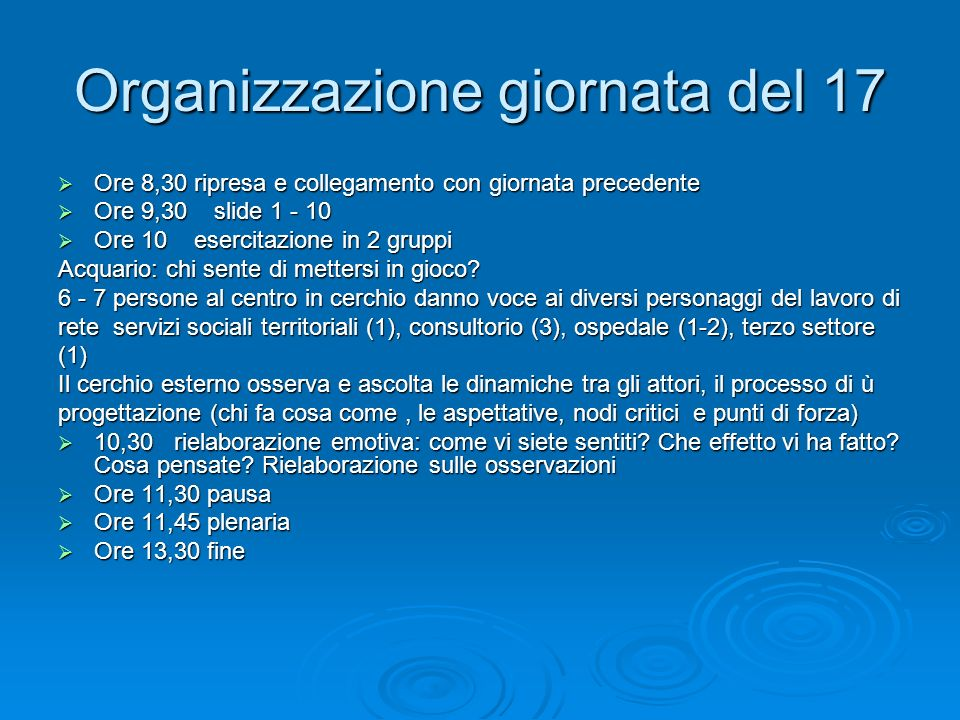 Organizzazione giornata del 17