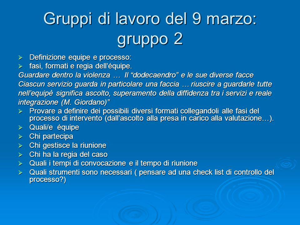 Gruppi di lavoro del 9 marzo: gruppo 2