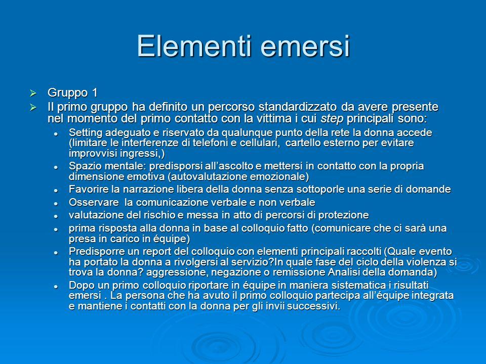 Elementi emersi Gruppo 1