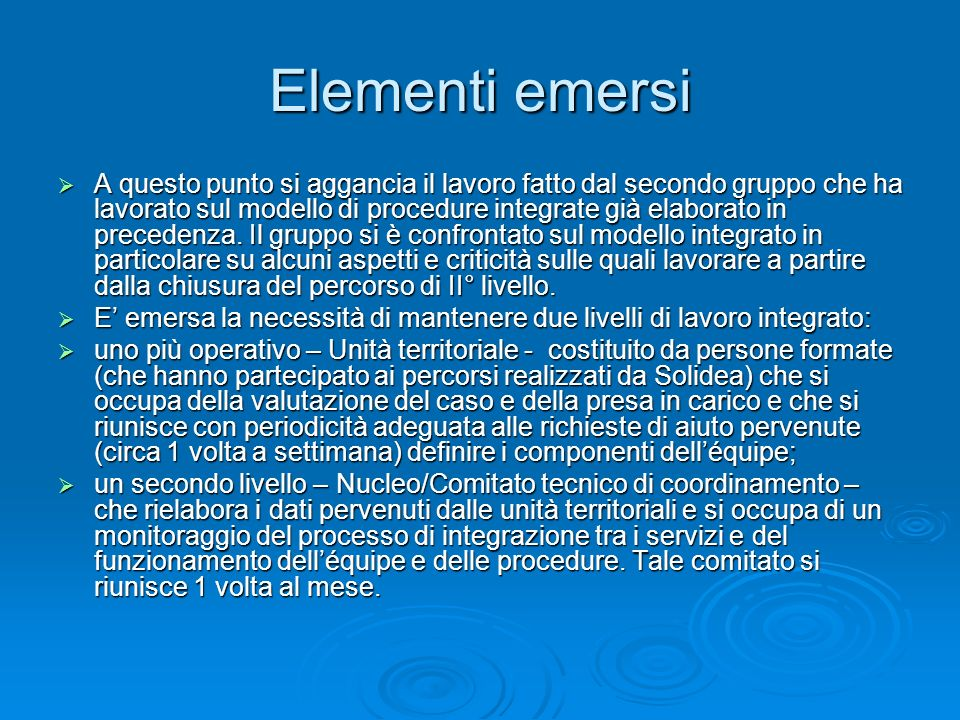 Elementi emersi