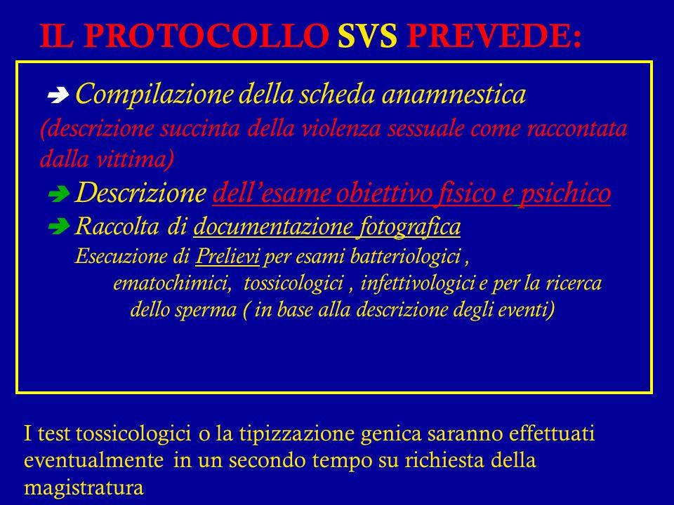 IL PROTOCOLLO SVS PREVEDE:
