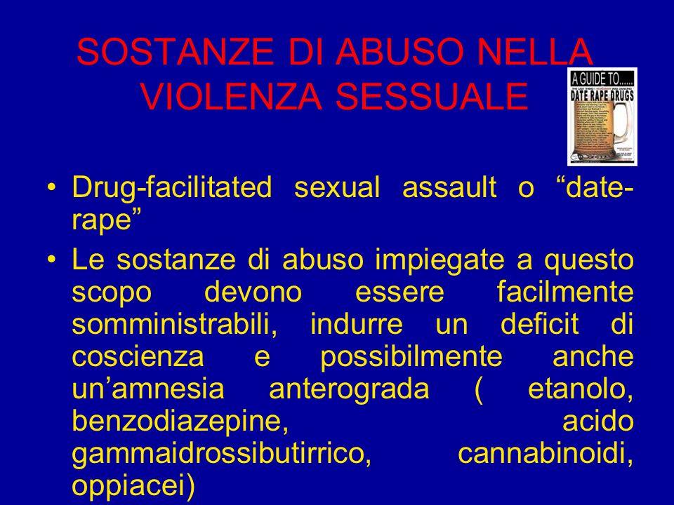SOSTANZE DI ABUSO NELLA VIOLENZA SESSUALE