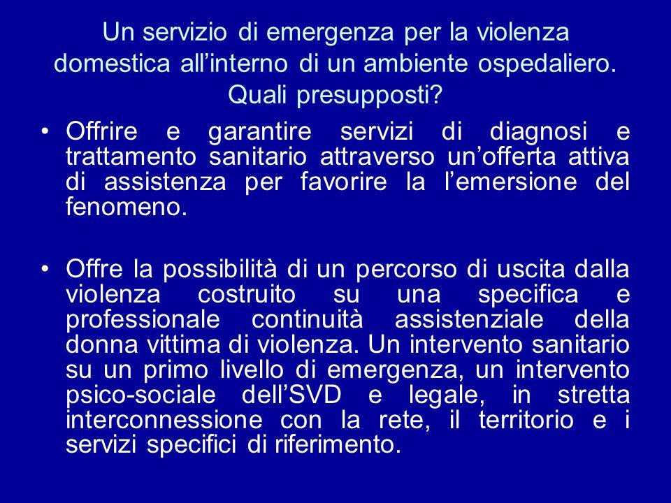 Un servizio di emergenza per la violenza domestica all'interno di un ambiente ospedaliero. Quali presupposti