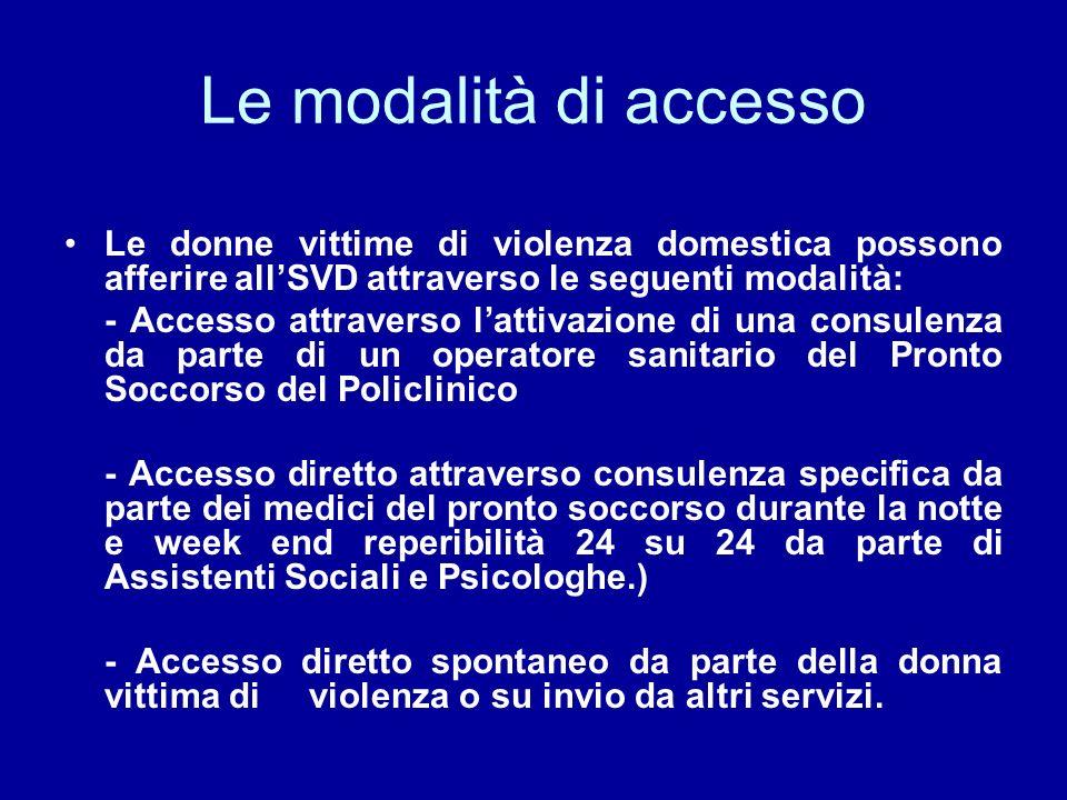 Le modalità di accesso Le donne vittime di violenza domestica possono afferire all'SVD attraverso le seguenti modalità: